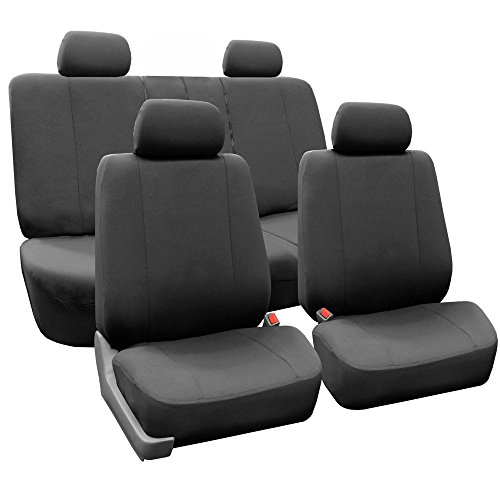 FH Group FH-FB052114 Full Set Multifunctional Flat Cloth Car Seat Covers, Airbag Compatible and Split Bench, Charcoal Grey Color- Fit Most Car, Truck, SUV, or Van