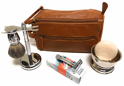 GBS Deluxe Travel Set with Merkur 34c (HD) - Doppler Bag + Shaving Bowl with Soap, Razor & Brush Stand + Blades Enjoy This Classic Vintage Wet Shave Set for Men with German made razor -