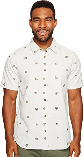 O'Neill Men's Brees Short Sleeve Woven Shirt, Fog, Large (Bree Gray)