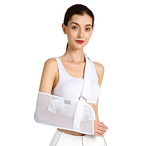 (Vinfit Medical Breathable Mesh Arm Sling Shoulder Support Belt with Adjustable Strap, Injured Forearm Supporter Cuff Wrist Elbow Brace Immobilizer Fracture Protector for Women Men, White)