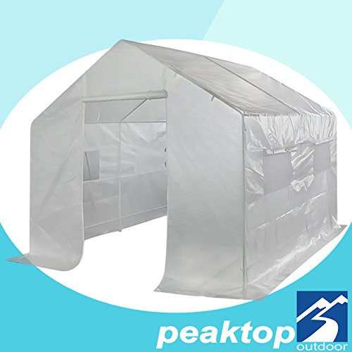 Peaktop Large Greenhouse Outdoor Walk in Grow Garden Plant Growing Green House Hot Tent 10' X 9' X 8' Steel Framework with 5 Windows 2 Doors 12 Stakes (Peak Roof, 10'x9'x8')