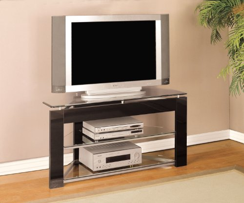 Black and Glossy Silver TV Stand # (Powell Black Stand)