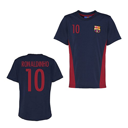 Source Lab Official Barcelona Training T-Shirt (Navy) (Ronaldinho 10)