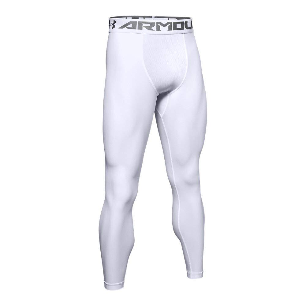 Under Armour Men's HeatGear Armour 2.0 Leggings, White (100)/Graphite, XX-Large by Under Armour