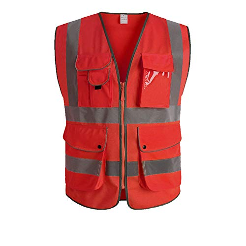 (XIAKE Class 2 Reflective Safety Vest with 9 Pockets and Front Zipper High Visibility Safety Vests,ANSI/ISEA Standards(Medium,Red))