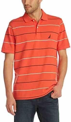 1bcf560881f4 Nautica Men's Classic Fit Short Sleeve 100% Cotton Pique Stripe Polo Shirt