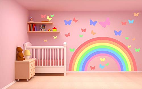 Kapowboom Graphics Pastel Rainbow & Butterflies Wall Sticker KIT Decal Art Nursery Cute Girl's Boy's Bedroom Colorful Bright (Large Sheet - 140cm Wide)