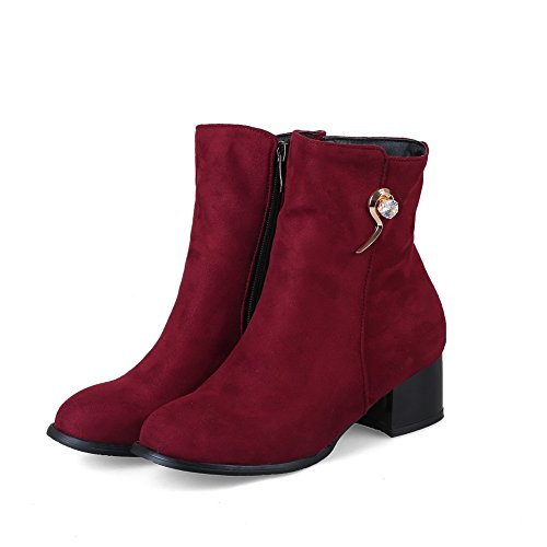 ABL10541 Claret Boots Calf Heels BalaMasa Chunky Suede Womens Jewels Mid x0ETwqzT8