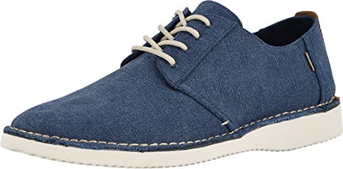 TOMS Preston Men's Lace up Casual Shoes Navy Washed Canvas/Stitch Out (10.5)
