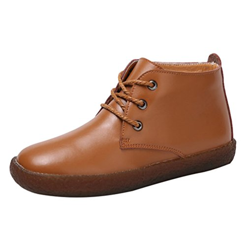 PU Brown 2 Doux Low Cuir Chaussures Top Femme Bateau Yiiquan Loisirs Lacets Antidérapant Flats Chaussures wTqSOwX