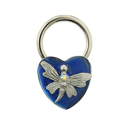 Silver-Tone Blue Enamel and AB Crystal Butterfly Heart Key ()