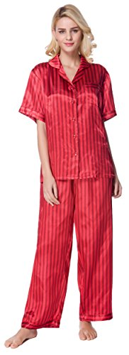 (Sunrise Women's Short Sleeve Classtic Satin Pajama Set (X-Large, Red Stripe))