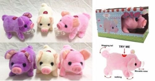 (1pc of Walking, Moving, Oinking, Tail Wagging Plush Baby Mini Pig Piggy in Random Color)