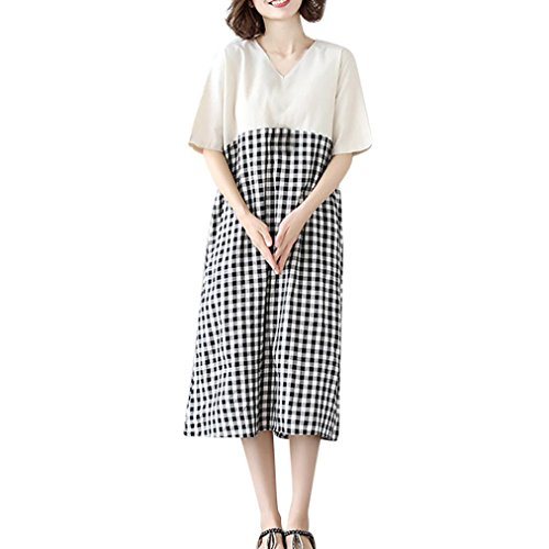 Flurries Women Dress, Fashion Women Short Sleeve O Neck Cotton Linen Plaid Patchwork Loose Casual Dress (L, White) by Flurries