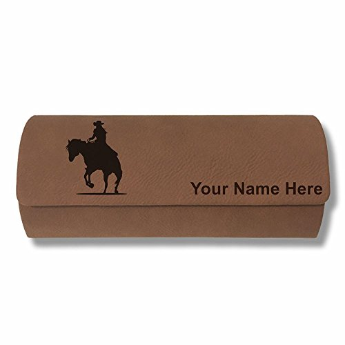 Eyeglass Case - Cowgirl Riding Horse - Personalized Engraving Included (Dark - Riding Sunglasses Horseback
