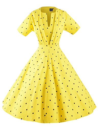 GownTown-Womens-50s-60s-Vintage-Sexy-V-neck-Swing-Dress
