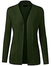 Women Open Front Long Sleeve Classic Knit Cardigan