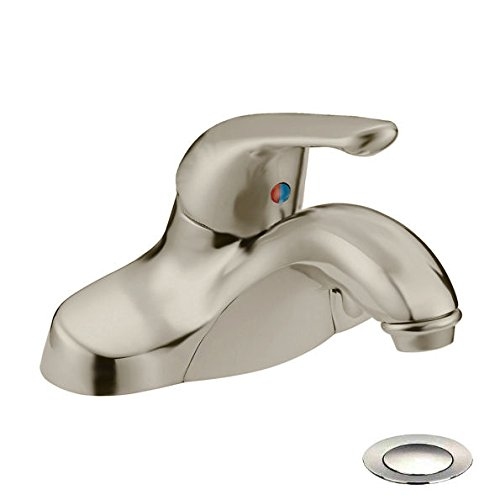 Faucet Lavatory Ldr (Designers Impressions 611595 Satin Nickel Single Handle Lavatory Bathroom Vanity Faucet - Bathroom Sink Faucet with Matching Pop-Up Drain Trim Assembly)