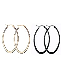 2 Pairs Fashion Circle Earrings Titanium Steel Polished Loop Hoops Jewelry for Women Girls