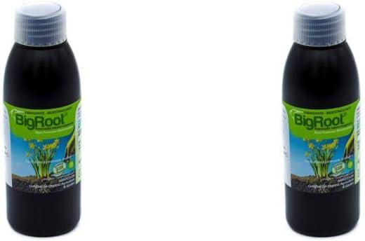 BIGROOT 2 (1.000 m2); Enraizante/Vitaminas/Algas/Aminoácidos; Potente enraizante Concentrado, activador bioestimulante. Frutos, Flores, Cespedes y formación de raíz. (diluir en 20 L Agua). Ecológico