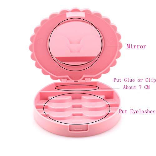 Eyelash Case Cosmetic Mirror Storage Box Pink Place Eyelashes