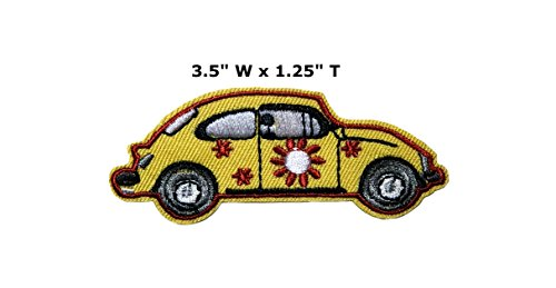 Yellow VW Bug - Hippy Boho Embroidered Sew or Iron-on Patch Badge DIY Application ()