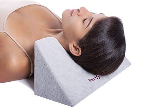 (Updated Cervical Traction Neck Fulcrum Pillow for Back & Shoulder Pain Relief with Cover - Restorative Alignment Device Foam Block for Spinal Curve Tension, Stretching, Denneroll Forward Head Therapy)