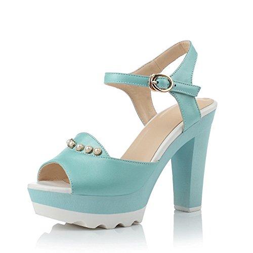 AllhqFashion Women's Peep Toe High-Heels Soft Material Solid Buckle Sandals Blue