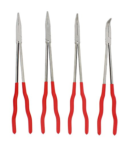 "ABN Needle Nose 16"" Inch Plier 4-Piece Set – Long Reach 90-Degree Angle, 45-Degree Angle, Straight, and Curved Pliers"