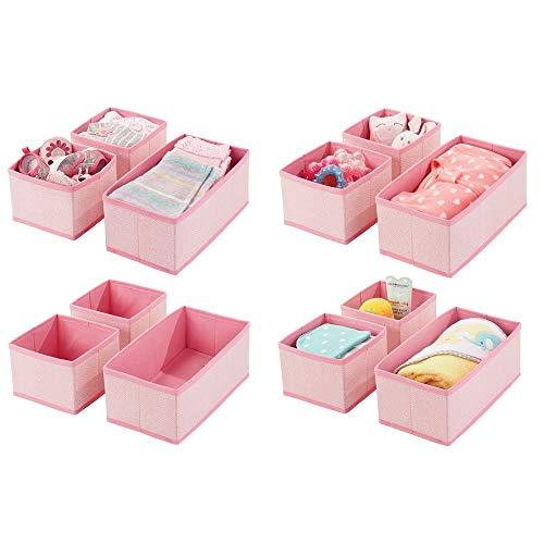 mDesign Soft Fabric Dresser Drawer and Closet Storage Organizer for Kids/Toddler Room, Nursery, Playroom, Bedroom - Herringbone Print - Organizing Bins in 2 Sizes - Set of 12 - Pink