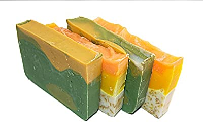 Citrus Soap Collection - 4(Four) 2Oz Guest Bars, Sample Size Soap -Natural Handmade Soaps with Orange Essential Oil. Orange Calendula and Avocado Soaps - Falls River Soap Company