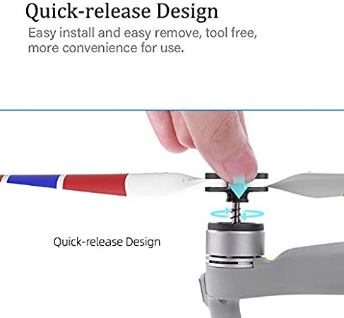 Owoda 2 Pares Doble Cara Hélices Coloridas Ruido Bajo Liberación Rápida Cuchillas Drones Accesorios para dji Mavic Air 2 (Rojo Blanco)