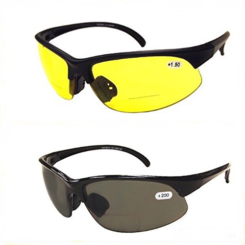 2 Pair of Bifocal Half Rim Sports Style - Yellow/Smoke Lens - Bottom Glasses Rim Half