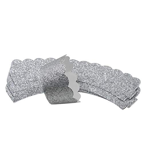 Glitter Cupcake Wrappers - Mybbshower Silver Glitter Scalloped Cupcake Wrappers for Wedding Birthday Cake Decoration Pack of 24