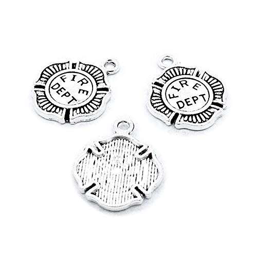 690 Pieces Antique Silver Plated Jewelry Charms Findings Fashion Craft Making Crafting R0DM0T Fire Department Badge ()
