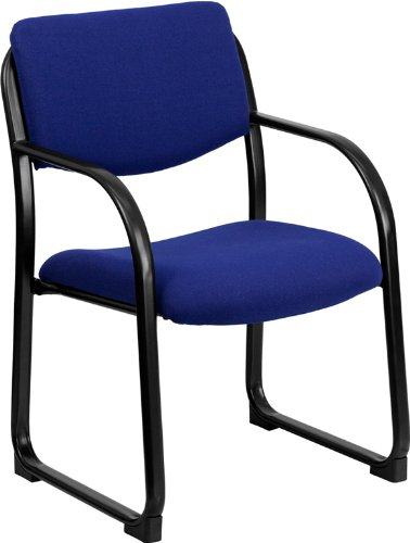 Contemporary Design Heavy Duty Navy Fabric Reception Office Guest Side Chair by Belnick