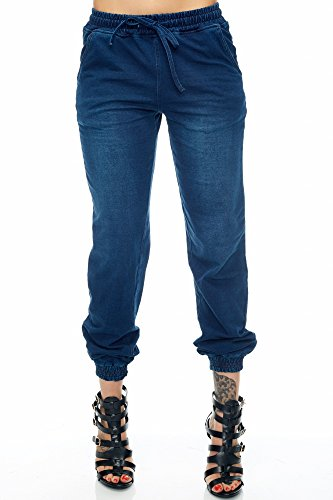 Womens Casual Denim Drawstring Jeans Joggers Pants RJJ-703 (S, Blue)