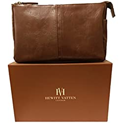 Leather Travel Toiletry Bag – Large, Luxury Waterproof Kit for Men or Women. Presentation Gift Box – - Hewitt Vatten