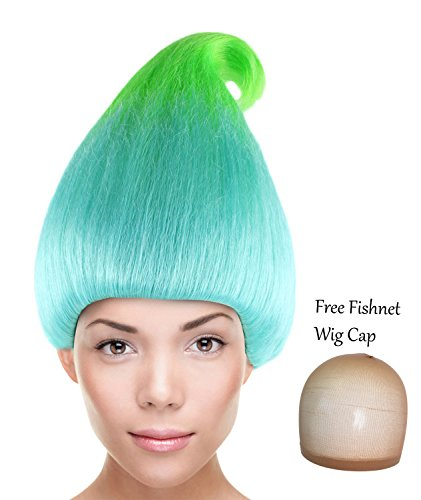 Troll Wigs (Cece Creek Trolls Wig Synthetic Hair w/ Wig Cap Cosplay Costume Party Halloween Ombre Hairpiece for Women)