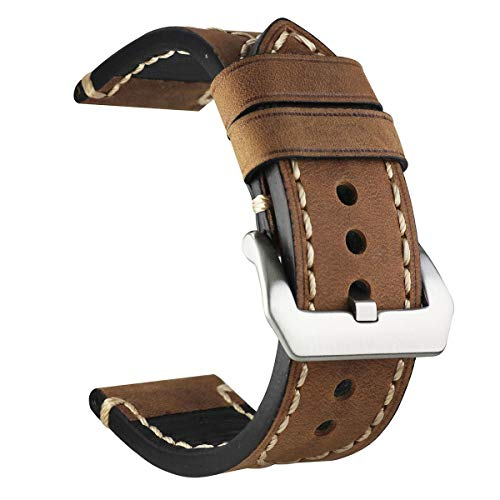 Leather Brown Black Watch Band Strap Stainless Steel Buckle 20 mm 22mm 24mm 26mm (24mm, Brown) ()