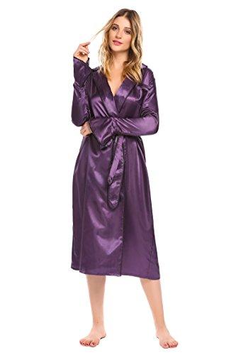 L'amore Womens Luxury Long Silk Kimono Robe Solid Long Sleeve Satin Bathrobe Spa Robe Purple (Long Sleeve Satin Robe)