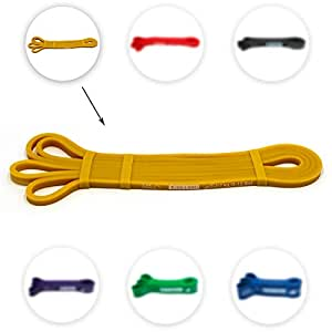 Ryher Assisted Pull Up band - Stretch resistance band – Exercise bands for Fitness, CrossFit, Pullup assistance, Mobility band for powerlifting routines - 100% European Quality Company – Includes eBook guide and handy carry bag (INDIVIDUAL #1 Yellow - from 2 to 7 kg (5 to 15 lbs))