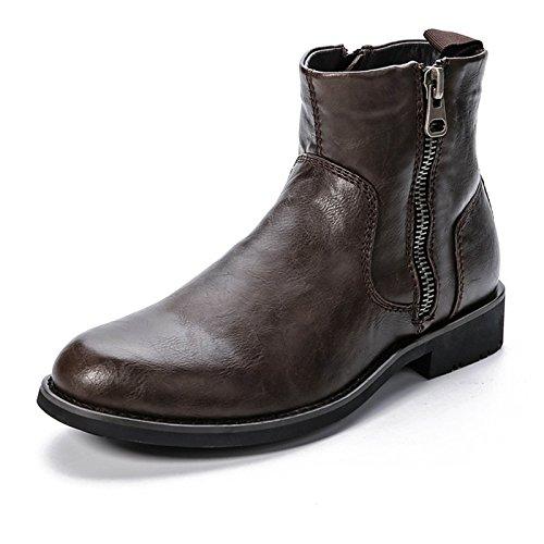 WZG de algodón acolchado zapatos de los hombres de gran tamaño de invierno caliente botas de cuero marrón de los nuevos hombres cargadores de la motocicleta negro Brown