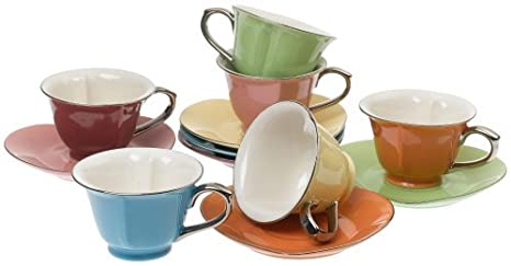 6a27ac5fc9 Image Unavailable. Image not available for. Color: Classic Coffee & Tea  Inside Out Heart Cups & Saucers, Set ...
