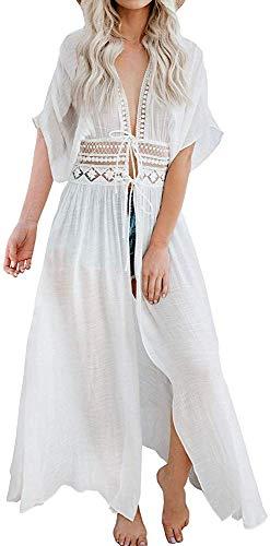 lace Bikini Cover up Women Boho Beach Wears Christmas Vocation White Long Maxi (one Size, LF-019)