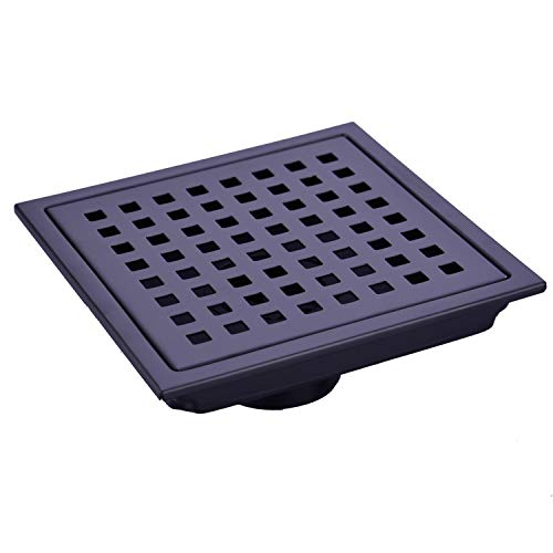 Black Square Grate - TRUSTMI 6-Inch Square Shower Floor Drain with Removable Cover Grid Grate, SUS 304 Stainless Steel, Matte Black