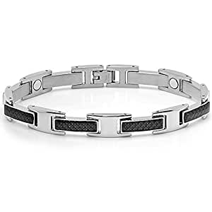 Oxford Ivy Mens Stainless Steel and Carbon Fiber Magnetic Bracelet 8 inch