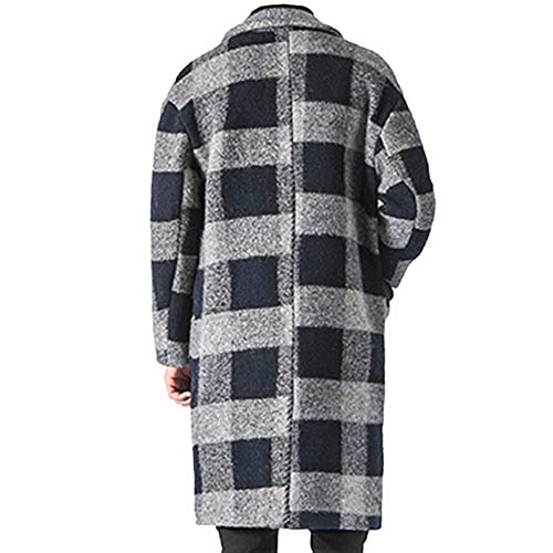 A A A di di di di di del Lana Spesso Windbreaker Casuale Rivestimento Lana Trench Uomo da Inverno Uomo Quadri Cappotto Greyblue Cappotto Slim Fit wEZOZ