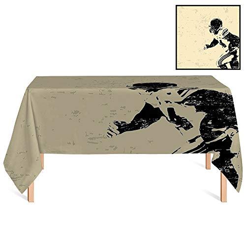 SATVSHOP Kitchen Tablecloth /60x104 Rectangular,Sports Rugby Player in Action Running Success in Arena Playground USA Sport Best Team Beige Black.for Wedding/Banquet/Restaurant. ()
