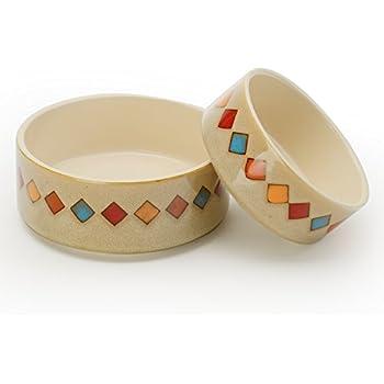 Pet Supplies Harmony Heart Print Brown Ceramic Dog Bowl